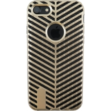 iPhone 7 Striped Bumper Hoesje 2 in 1 Goud