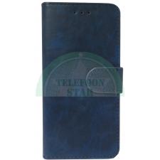 Nokia 6 Boek hoesje Echt leer in Donker Blauw