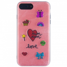 iPhone 7/8 Plus hoesje met stoffen achterkant in Roze