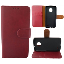 Motorola Moto E4 Plus 100% Leer Hoesje Rood
